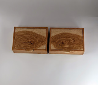 Matched Pair of Burl Oak Boxes