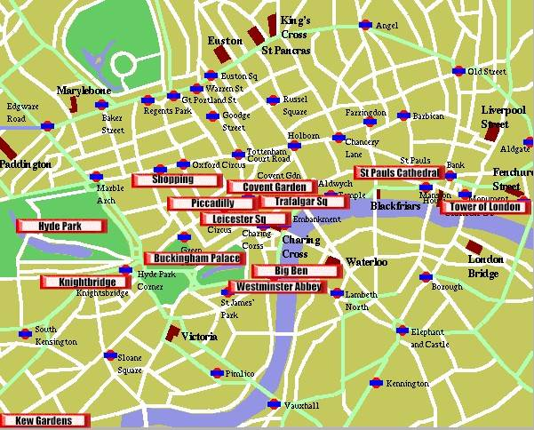 Map London Tourist Attractions – Map Of Central London With Tourist Attractions