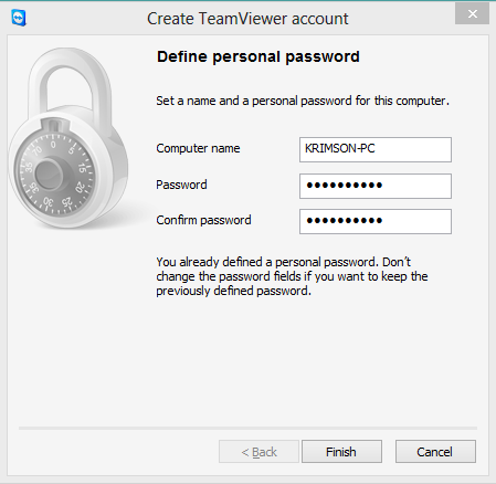 Enter Name and Password TeamViewer