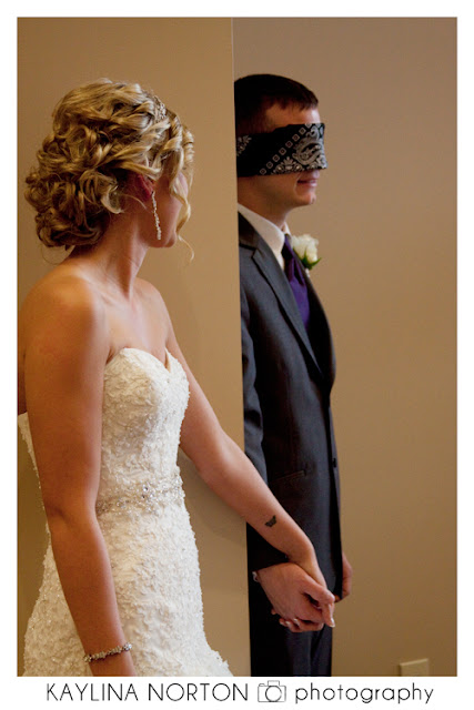 Blindfolded Groom Bride Photos