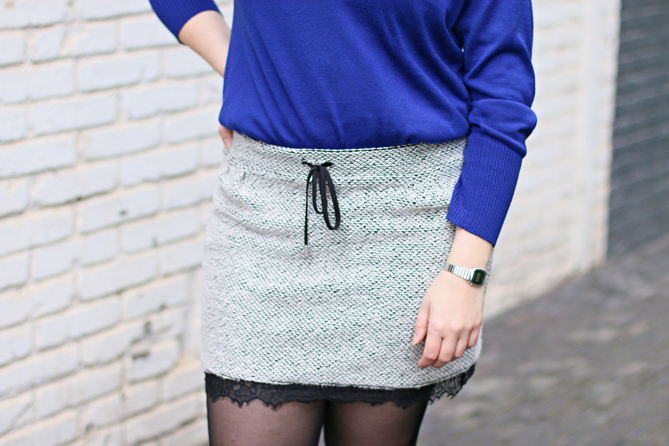 grey lace mini skirt
