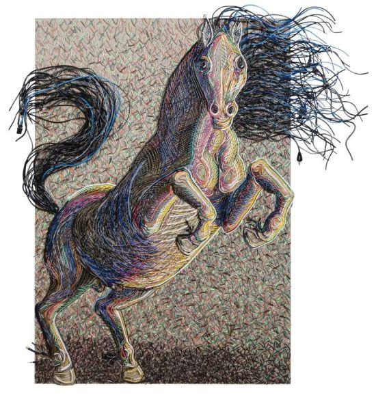 federico uribe arte com cabos e fios eletrodomésticos eletrônicos Cavalo