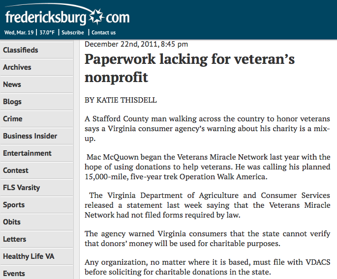 Paperwork lacking for veteran's nonprofit