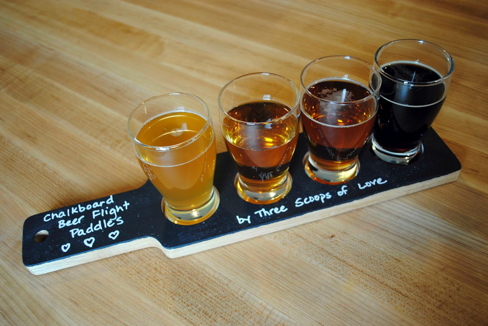 chalkboard beer flight paddles
