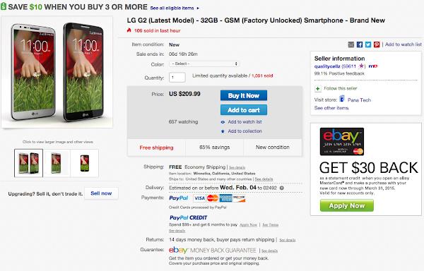 LG G2 on eBay