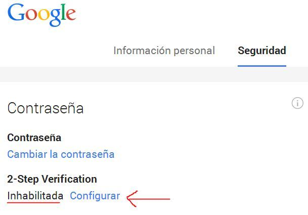 Habilitar configuracion dos pasos de google