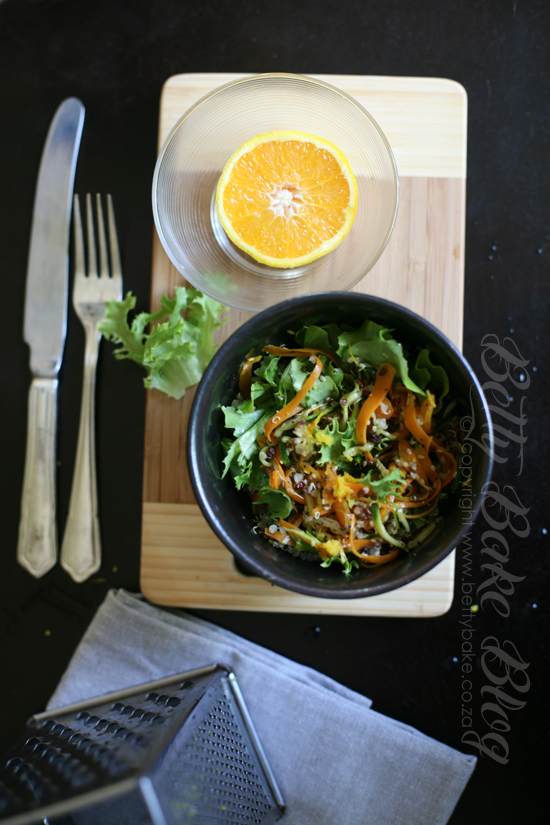 quinoa, salad, carrot, orange, easy, healthy, betty bake, bowl of salad, health food,