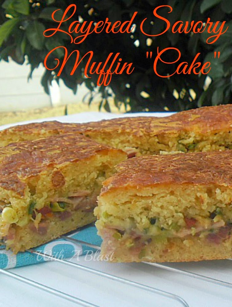 "Layered Savory Muffin ""Cake"" ~ One giant Muffin stuffed with Bacon, Ham Cheeses and more ! #MuffinMix #SavoryPie"