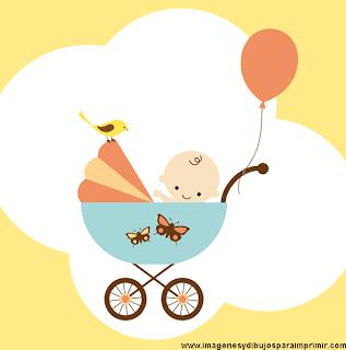 bebe en las nubes con su carrito