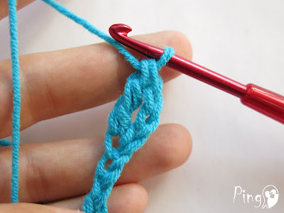 Treble/Triple Crochet (TR) - step by step instruction by Pingo - The Pink Penguin