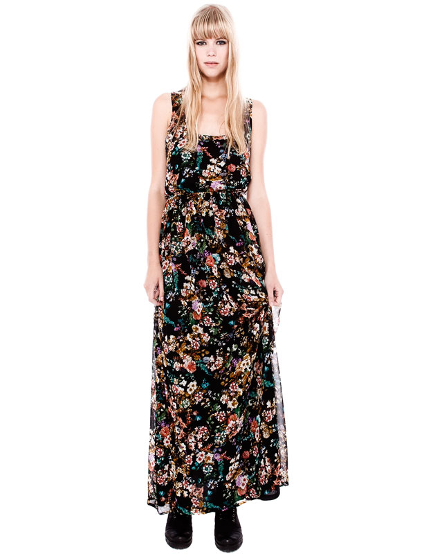 desenli uzun elbise siyah