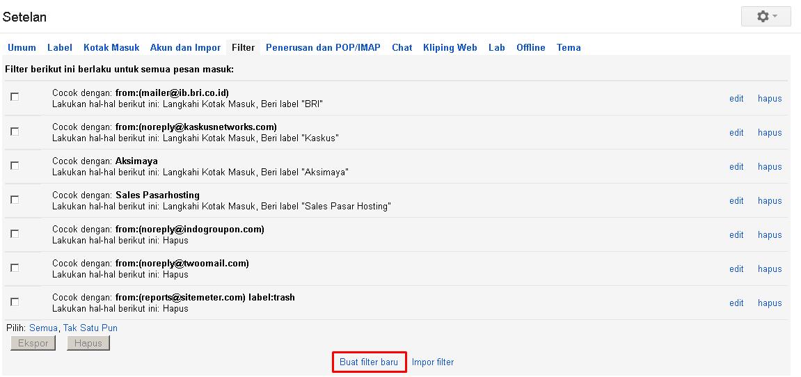 Cara membuat filter email dengan Google Mail (Gmail) 2
