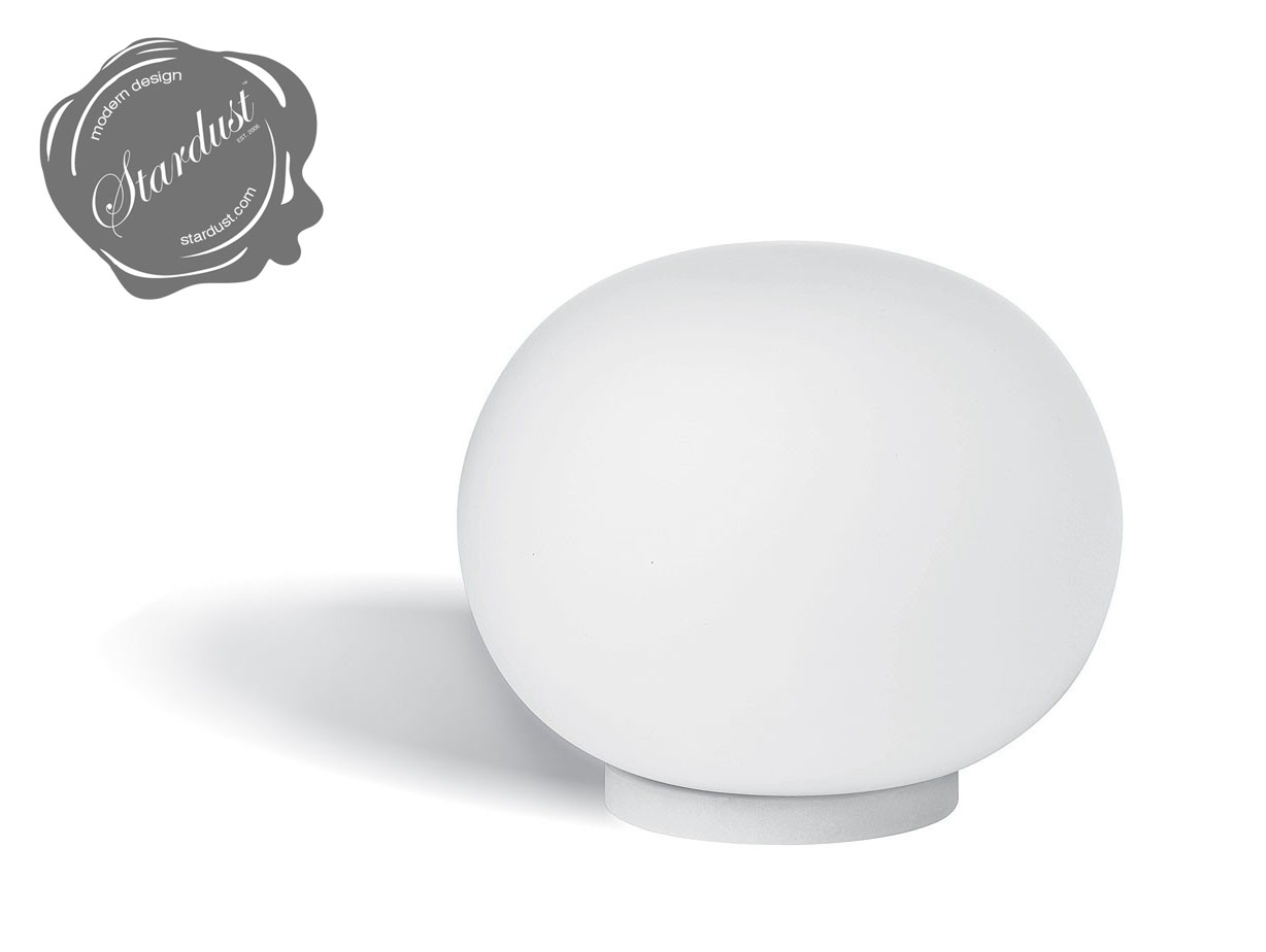Small Touch Table Lamps: modern bulb small bedside table lamp in white finish with round shape and  white glass murano shade,Lighting