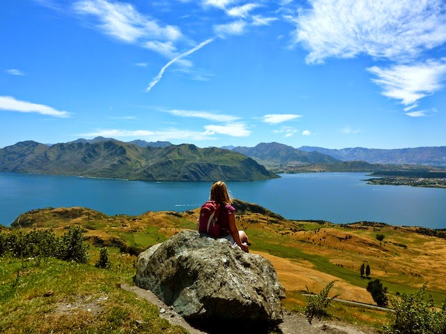 Holiday Nomad enjoying the view over Lake Wanaka on the Roys Peak Track