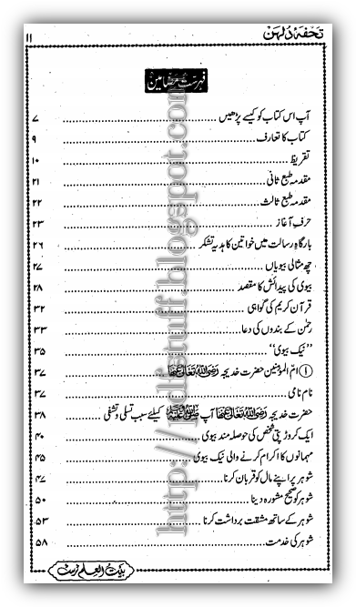 Contents of tuhfa-e-Dulhan book