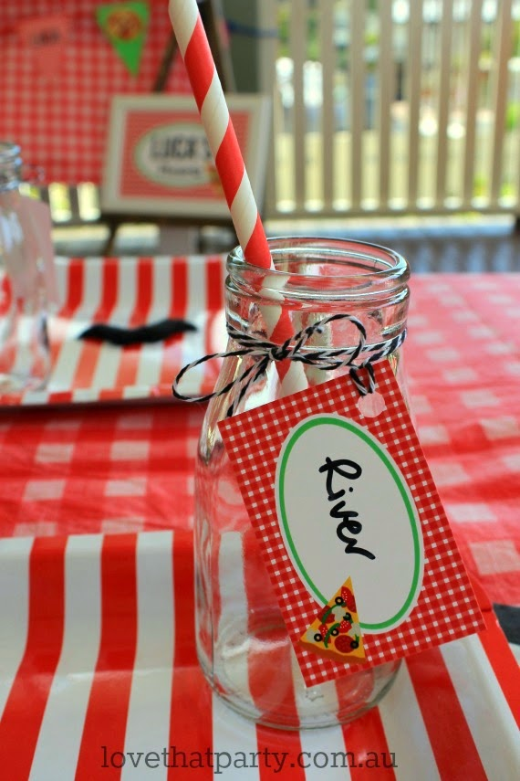Pizza party table pizzeria party food mini glass milk bottles with personalised label