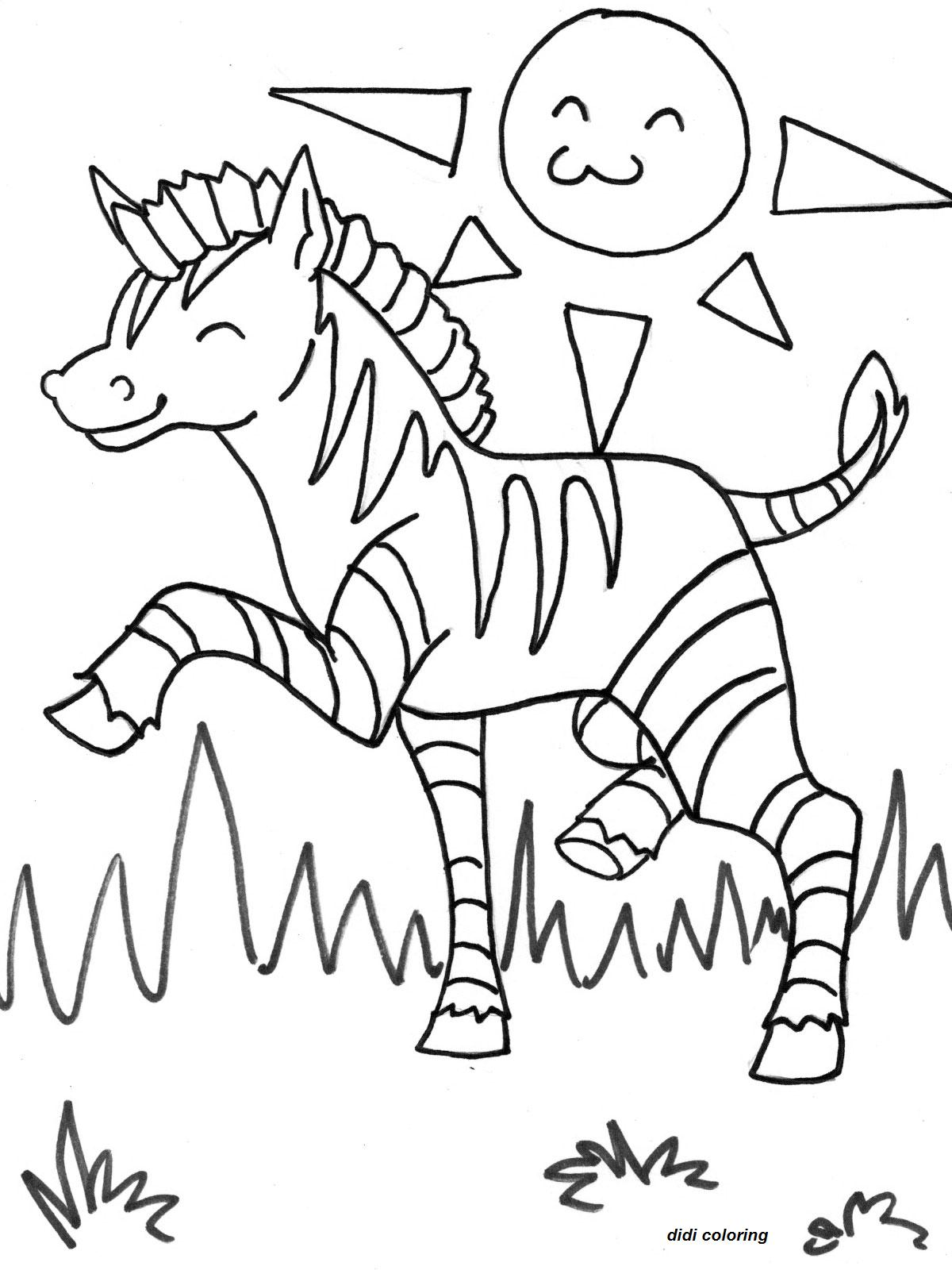 printable exited zebra horse grazing in sunny weather coloring