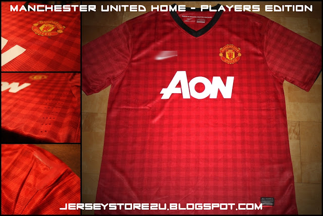 MANCHESTER UNITED FC 2012 2013 HOME RED SOCCER JERSEY PLAYERS EDITION