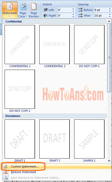 word how to add a watermark