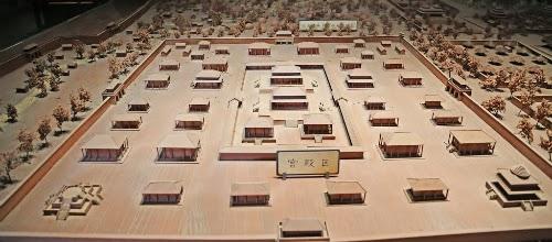 Modelo em miniatura de palácio imperial da dinastia Zhou Oriental