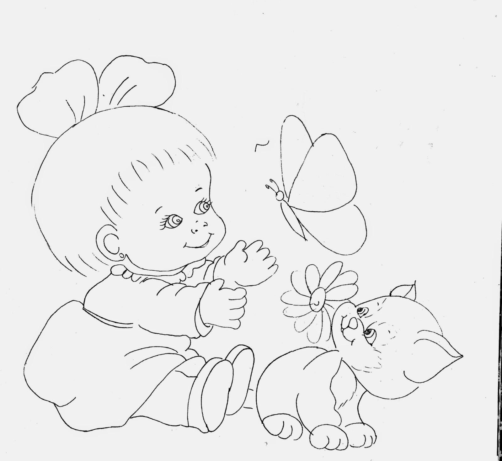 desenho de menininha com gato e borboleta para pintar em fraldas