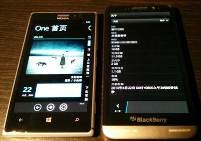 El inédito BlackBerry Z30 se muestra aquí en la imagen de arriba junto al Nokia Lumia 925. Como se puede ver el Z30 luce el número de modelo STA100-2 con OS 10.2.0.1442 no demasiado lejos de los últimos OS filtrados del 10.2 Echa un vistazo a el resto de las imágenes del BlackBerry Z30: El BlackBerry Z30 es un poco más alto que el Nokia Lumia 925, En su anchura es aproximadamente lo misma.¿Qué piensan ustedes del Z30? Fuente: BBIN