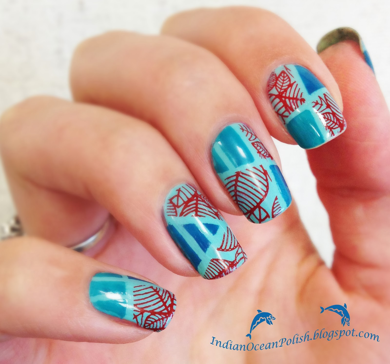 Indian Ocean Polish Colour Blocking Nails With Opi Fly: Indian Ocean Polish: How To Use Too Small Stamping Designs