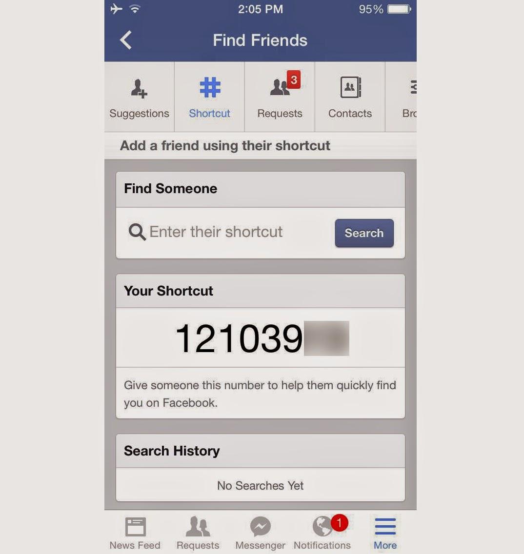 Facebook shortcut