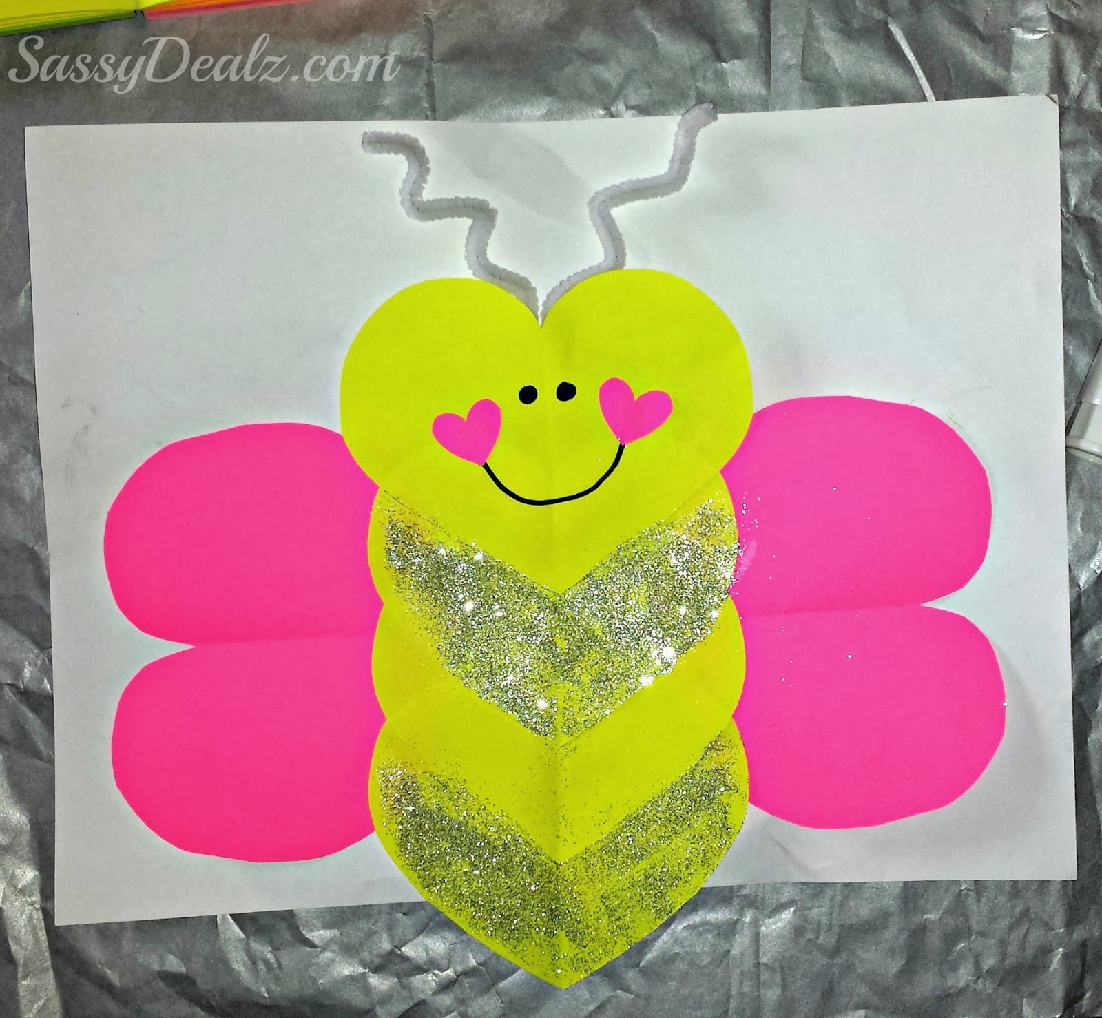 Valentine love bug craft - Butterfly Valentines Love Bug Craft Kids