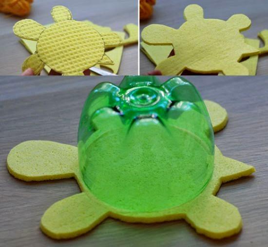 Cómo hacer una tortuga reciclando botellas pet ~ Solountip.com