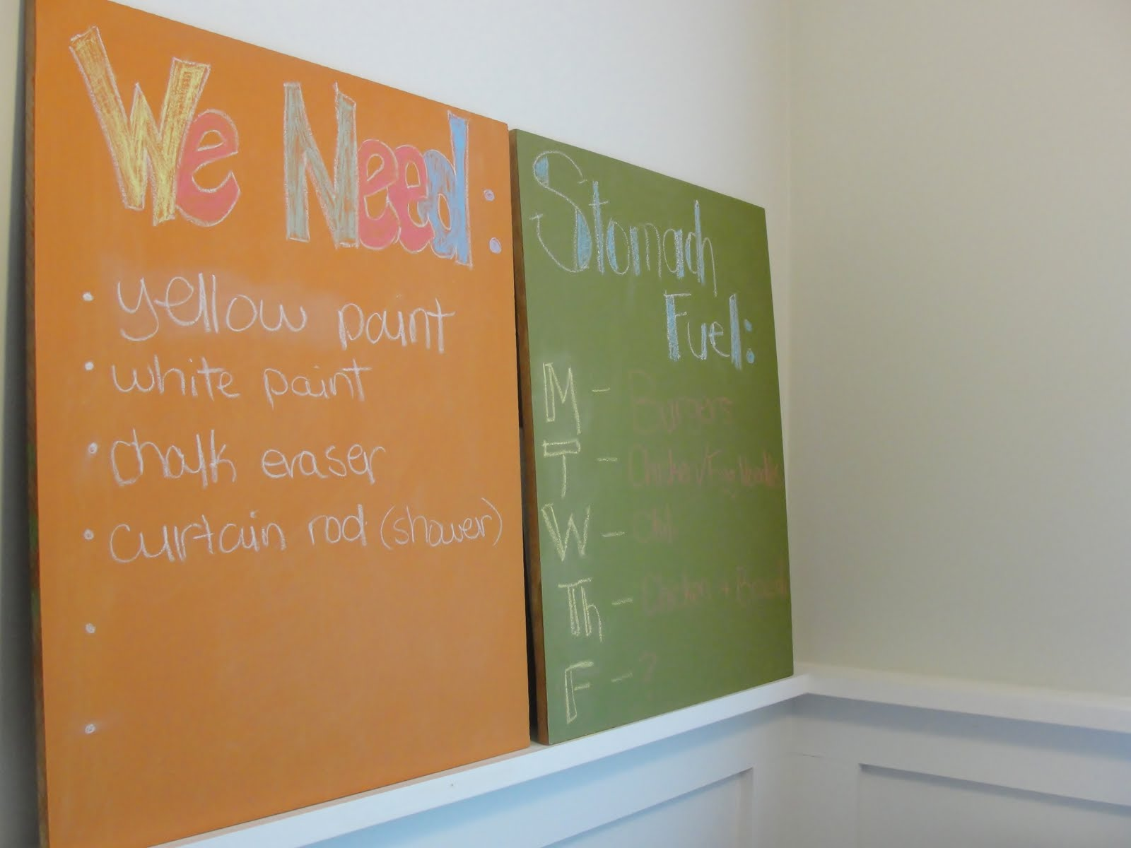 That's why I was thrilled to find this super easy chalkboard paint recipe  from Martha Stewart. It takes about two minutes to mix and costs less than  $4.