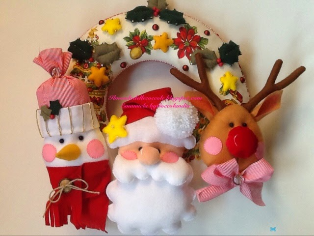 Ghirlanda Natale pannolenci feltro tessuto
