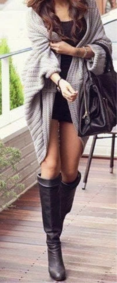 Gray Cardigan with Black Mini Dress, Long Boots Accessories and Handbag, Looks Very Chic