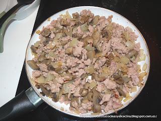 cebolla pochada, carne de pollo picada y champiñones