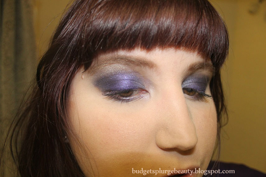 eyeshadow look with eyes partially closed
