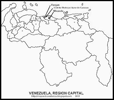 REGION CAPITAL, Mapa de las Regiones politico-administrativas de VENEZUELA, blanco y negro