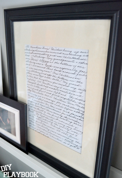 I love this letter from my grandmother. It's so nice to have it on our picture ledge in our bedroom now.