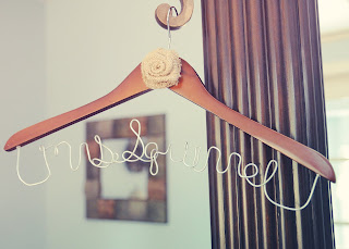 wooden hanger, galvanized wire, burlap rose, wedding hanger for bride