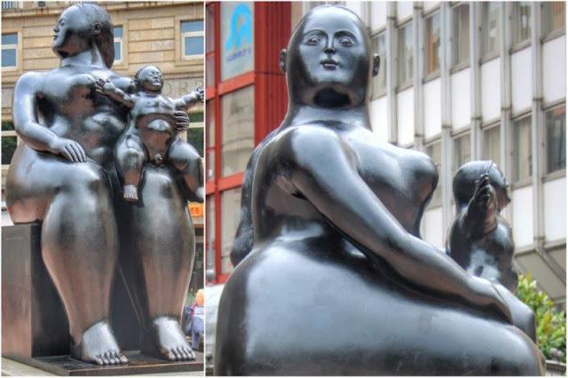 Escultura La maternidad de Fernando Botero en la Plaza de la Escandalera de Oviedo