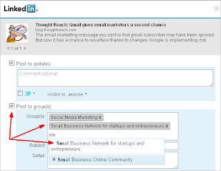 "On LinkedIn, click ""Post to Groups"""