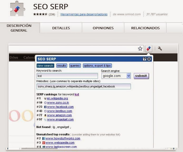 SEO SERP  Extension Google Chrome