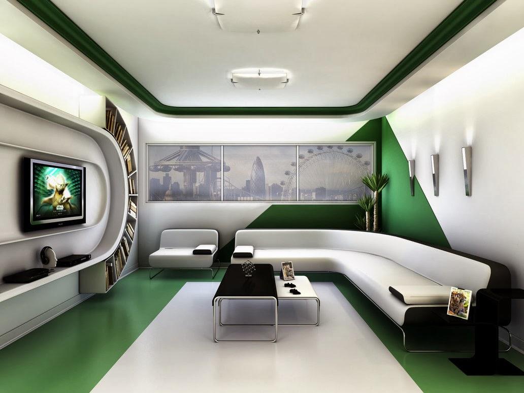 Desain Interior ruang tamu futuristik