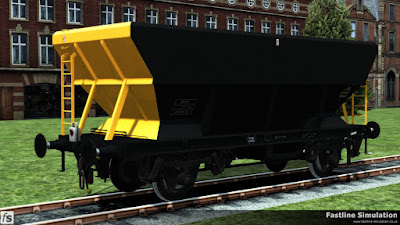 Fastline Simulation: the HEA coal hopper has been recoded as an RNA barrier wagon and has gained Railfreight Coal Sector livery.