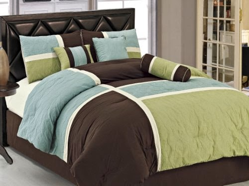 Coffee Quilted Patchwork Comforter Set, Queen, Aqua Blue Sage Green