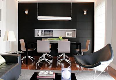 Decoraci n de interiores con paredes y muebles negros casa - Decoracion de interiores paredes ...