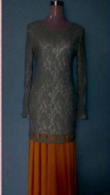 Baju Kurung Lace - Kelabu