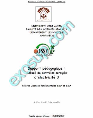 contrôles corrigés d'électricité 3 SMP FSSM