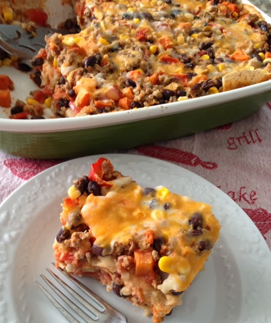 Layered Bean Beef Mexican Style Lasagne