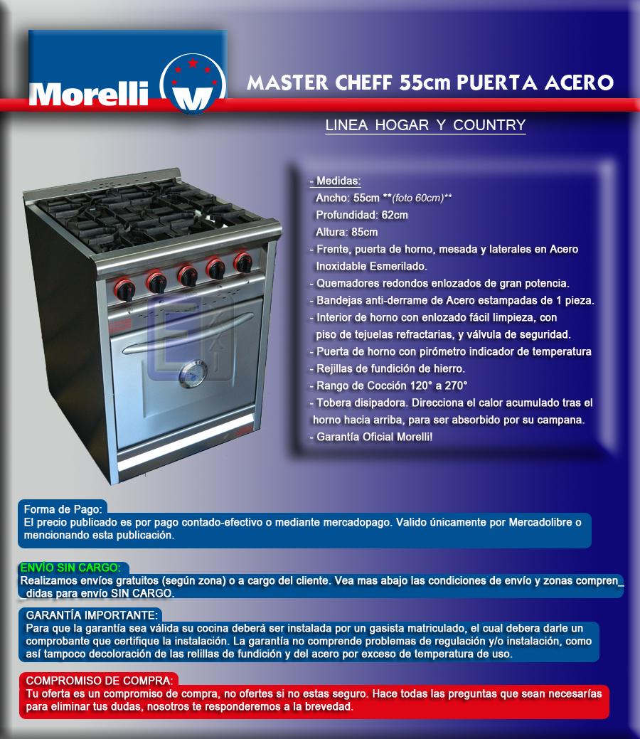 Cocina industrial morelli 55cm puerta acero oferta for Puerta cocina industrial