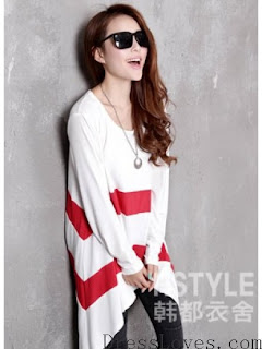 White and Red Irregular Long-Sleeved Bat Sleeve Loose T-shirt